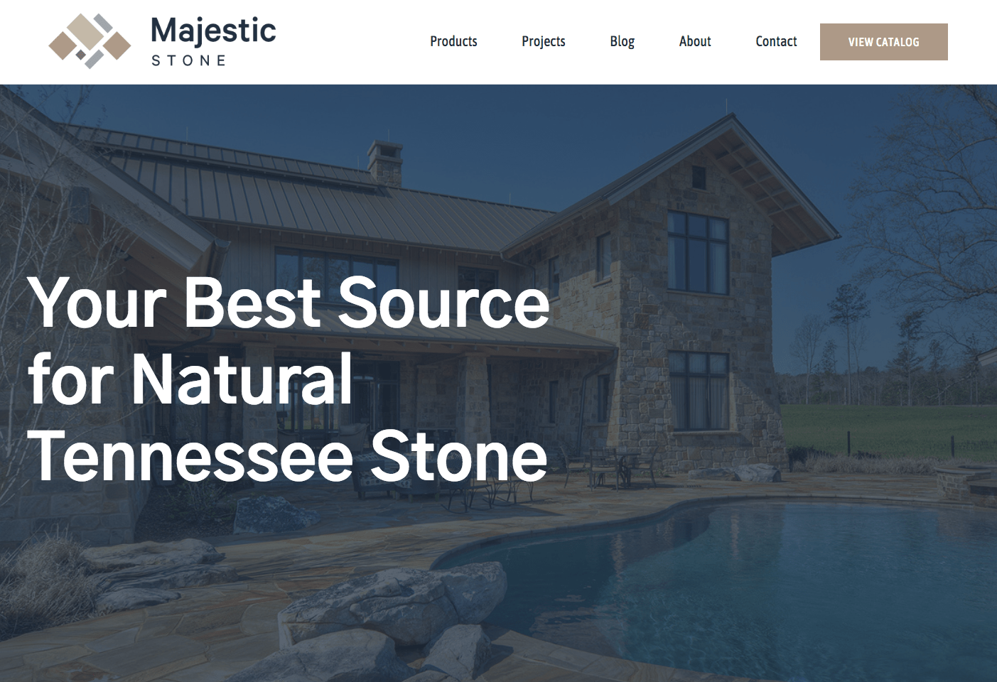 screen shot of majestic stone website