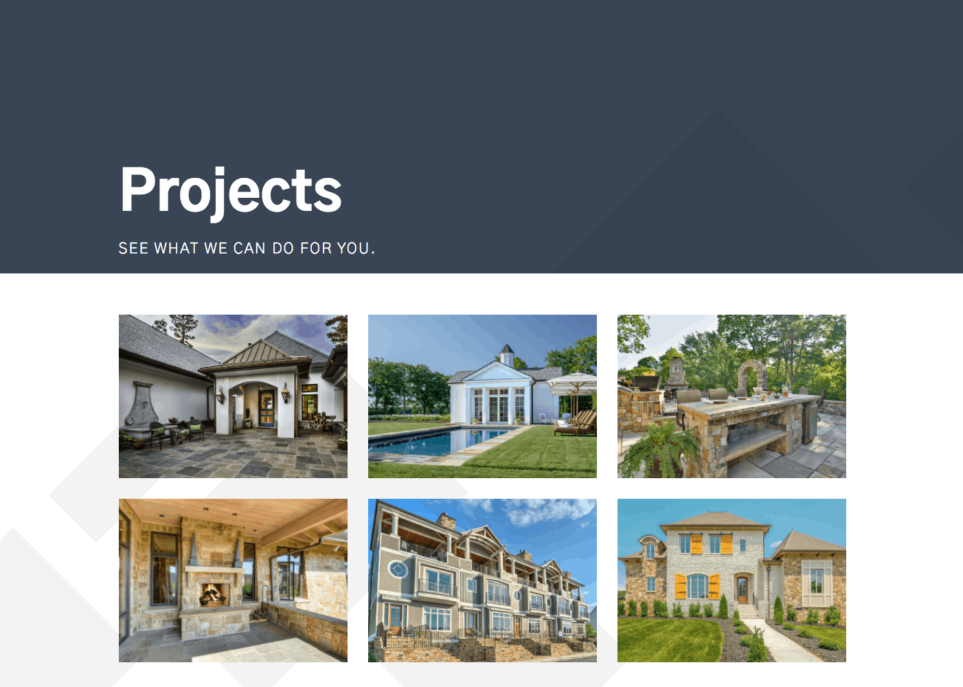 screen shot of majestic stone projects page